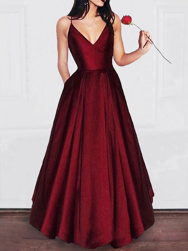 A-Line/Princess V-neck Ruffles Satin Sleeveless Floor-Length Dresses