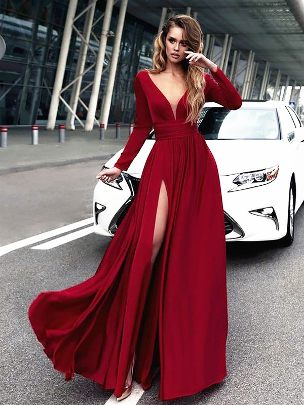 A-Line/Princess V-neck Long Sleeves Satin Floor-Length Ruffles Dresses