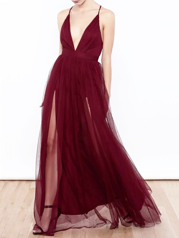 A-Line/Princess V-neck Sleeveless Tulle Floor-Length Ruffles Dresses