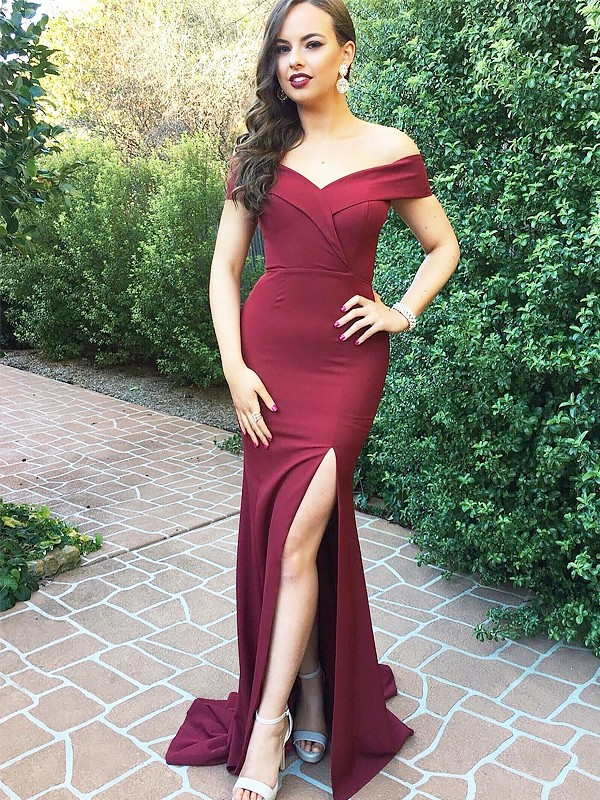 A-Line/Princess Off-the-Shoulder Sleeveless Floor-Length Satin Dresses With Ruched