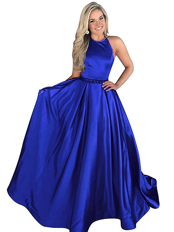 A-Line/Princess Halter Sleeveless Satin Sweep/Brush Train Dresses With Beading