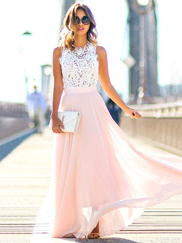 A-Line/Princess Jewel Sleeveless Chiffon Lace Floor-Length Dresses