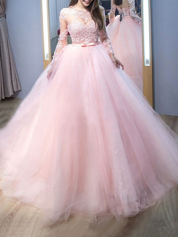 Ball Gown Jewel Long Sleeves Tulle Sweep/Brush Train Lace Dresses