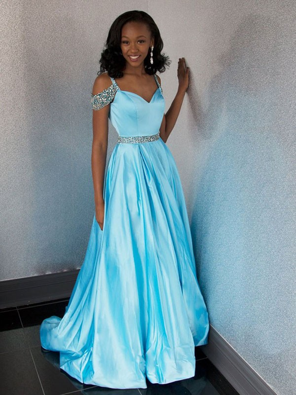 A-Line/Princess Sweetheart Sweep/Brush Train Sleeveless Satin Dresses with Beading