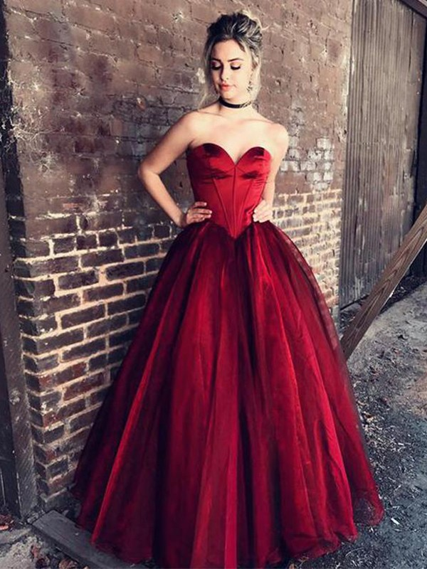 Ball Gown Sweetheart Sleeveless Ruffles Floor-Length Tulle Dresses