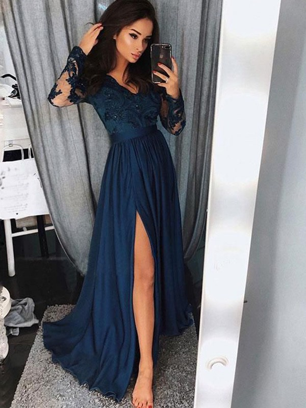 A-Line/Princess V-neck Long Sleeves Sweep/Brush Train Ruched Chiffon Dresses With Applique