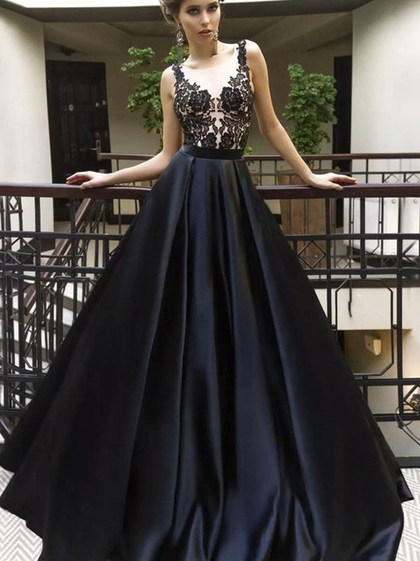 A-Line/Princess Sheer Neck Sleeveless Sweep/Brush Train Ruched Satin Dresses With Applique