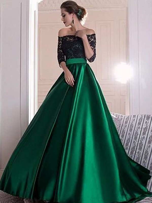 A-Line/Princess Off-the-Shoulder 3/4 Sleeves Lace Ruched Sweep/Brush Train Satin Dresses