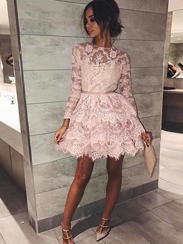 A-Line/Princess Bateau Long Sleeves Lace Short Dresses With Beading