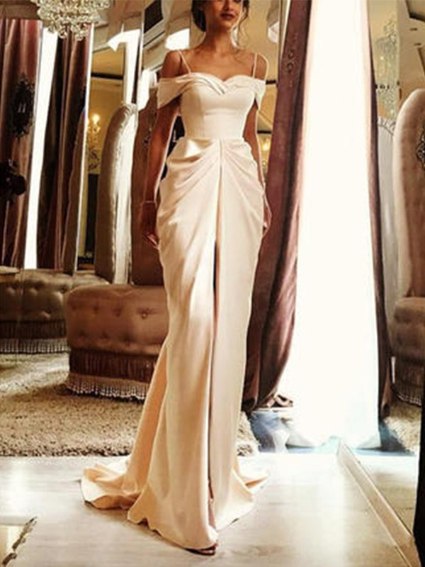Sheath/Column Off-the-Shoulder Short Sleeves Silk like Satin Sweep/Brush Train Wedding Dresses With Ruffles