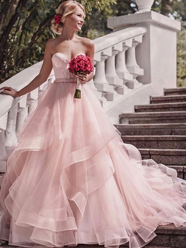 Ball Gown Sweetheart Sleeveless Organza Court Train Layers Wedding Dresses