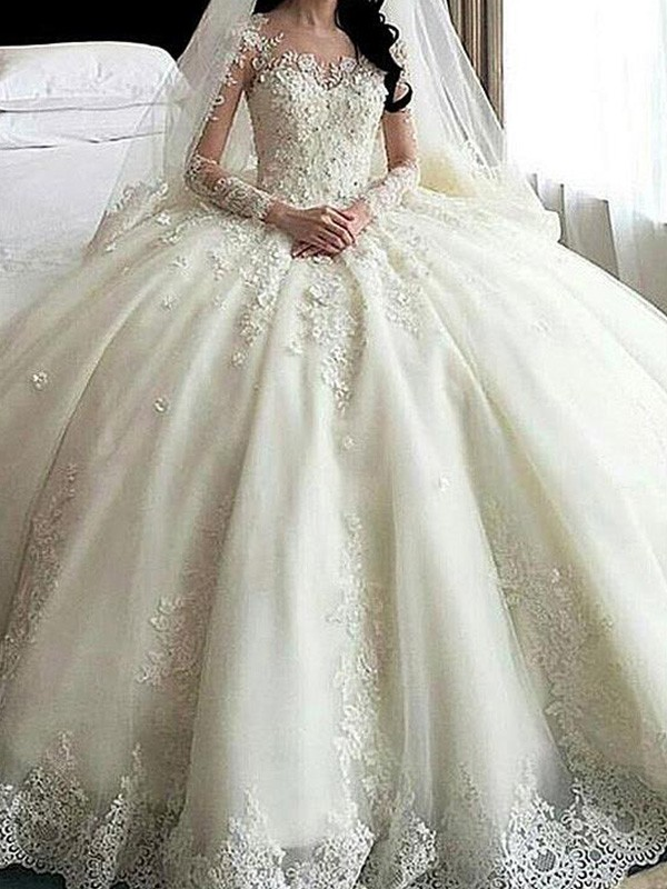 Ball Gown Scoop Tulle Long Sleeves Lace Cathedral Train Wedding Dresses With Applique