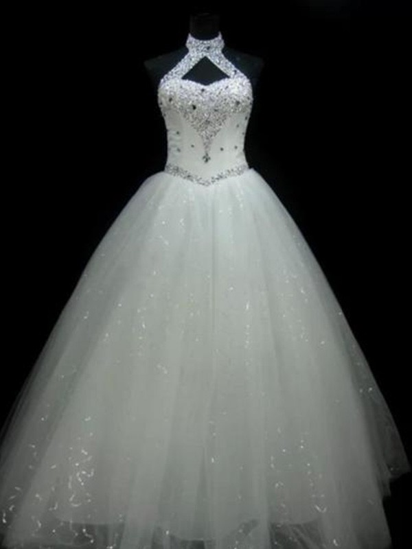 Ball Gown Halter Sleeveless Tulle Floor-Length Wedding Dresses With Beading Sequin