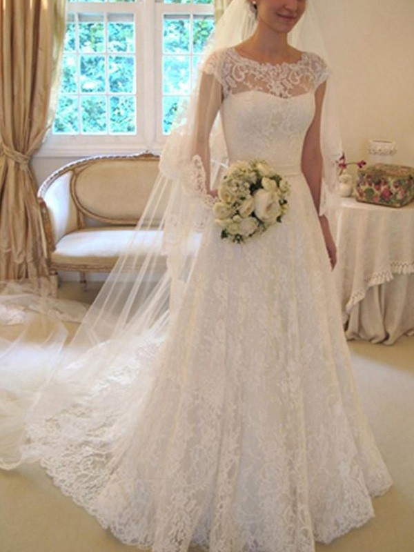 A-Line/Princess Lace Short Sleeves Square Sash/Ribbon/Belt Court Train Wedding Dresses With Applique