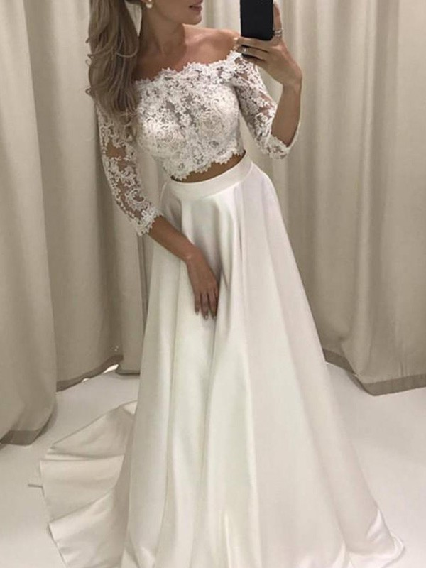 A-Line/Princess 3/4 Sleeves Satin Off-the-Shoulder Court Train Wedding Dresses With Applique