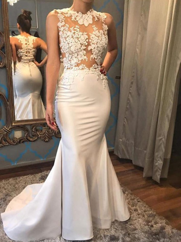 Trumpet/Mermaid Scoop Sleeveless Satin Court Train Wedding Dresses With Applique