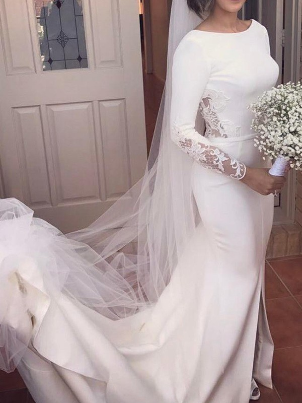 Trumpet/Mermaid Scoop Long Sleeves Lace Court Train Satin Wedding Dresses