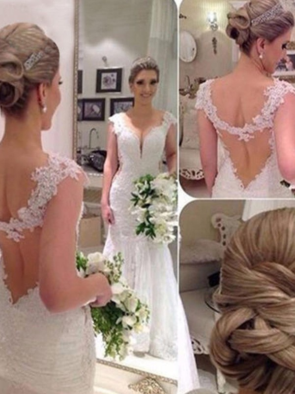 Trumpet/Mermaid V-neck Sleeveless Lace Tulle Sweep/Brush Train Wedding Dresses With Applique