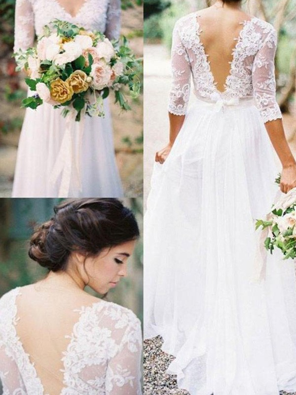 A-Line/Princess V-neck Chiffon 1/2 Sleeves Floor-Length Lace Wedding Dresses With Applique