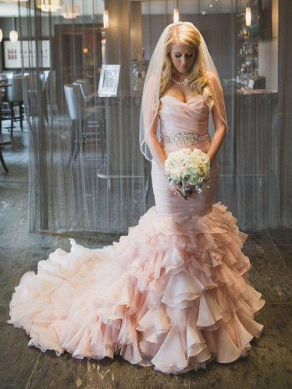 Trumpet/Mermaid Sweetheart Organza Sleeveless Court Train Wedding Dresses With Ruffles