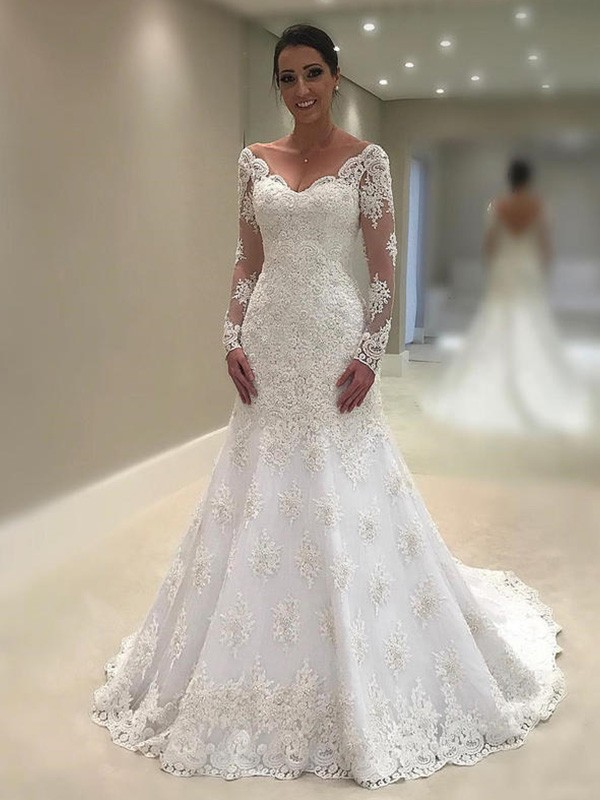 Trumpet/Mermaid V-neck Long Sleeves Lace Court Train Wedding Dresses With Applique