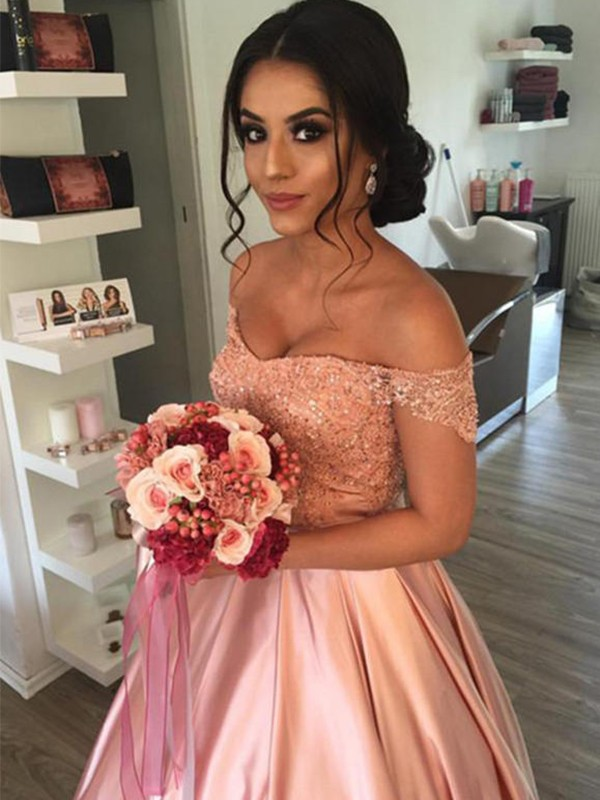 Ball Gown Off-the-Shoulder Satin Sleeveless Ruffles Cathedral Train Wedding Dresses