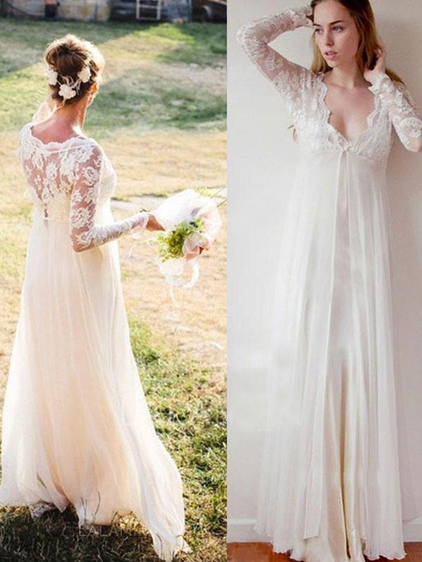 Empire V-neck Lace Long Sleeves Chiffon Floor-Length Wedding Dresses