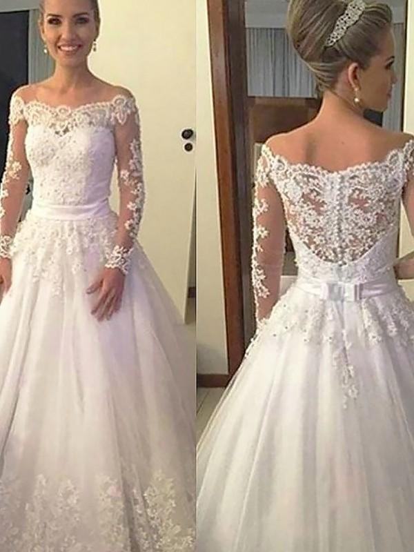 Ball Gown Off-the-Shoulder Long Sleeves Tulle Court Train Wedding Dresses With Applique