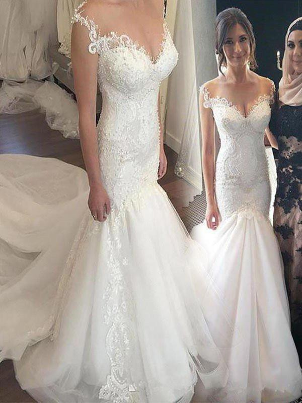 Trumpet/Mermaid Off-the-Shoulder Tulle Sleeveless Chapel Train Wedding Dresses With Applique