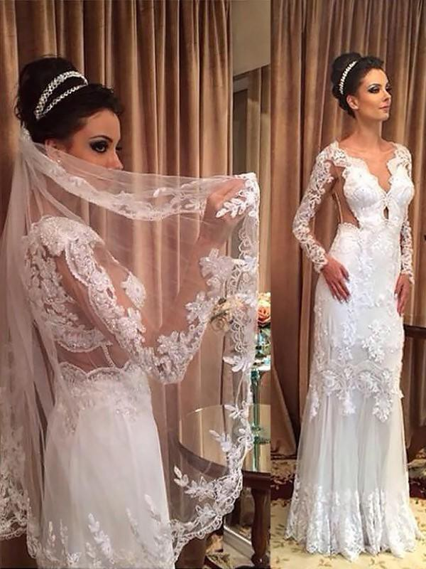Sheath/Column V-neck Tulle Long Sleeves Sweep/Brush Train Wedding Dresses With Applique