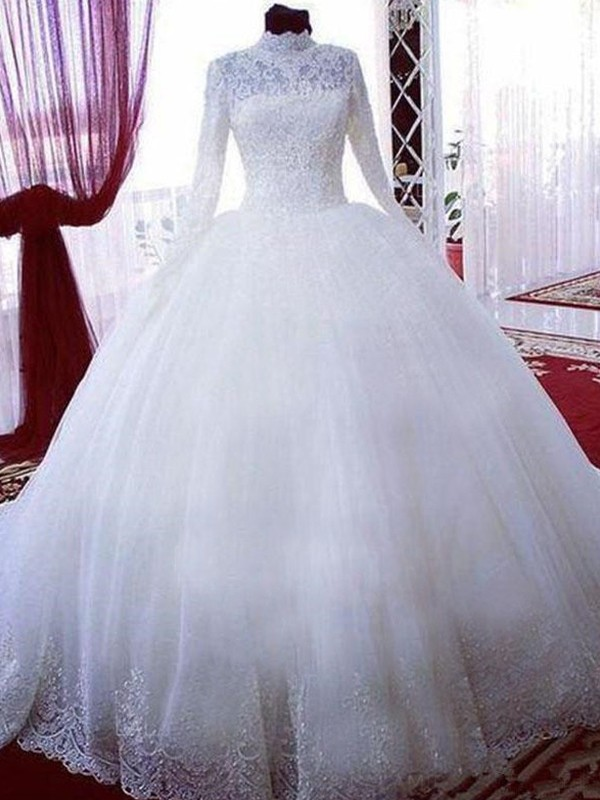 Ball Gown High Neck Long Sleeves Lace Tulle Chapel Train Wedding Dresses