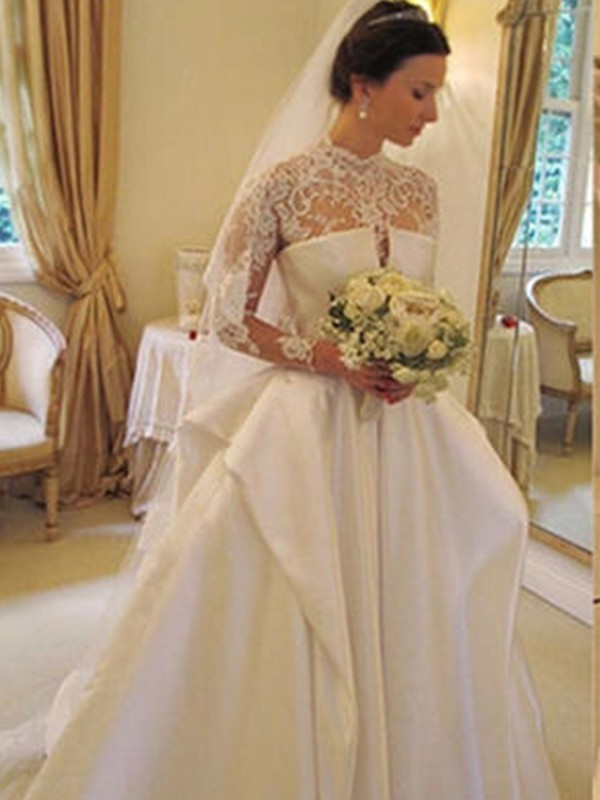 Ball Gown High Neck Long Sleeves Satin Chapel Train Lace Wedding Dresses