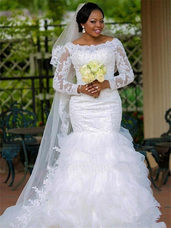 Trumpet/Mermaid Square Long Sleeves Chapel Train Organza Wedding Dresses With Applique