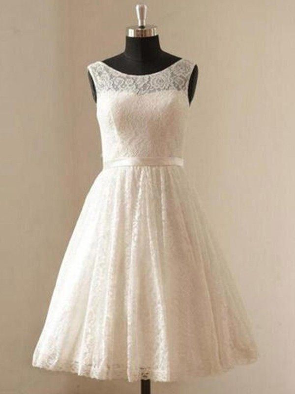 A-Line/Princess Scoop Sleeveless Sash/Ribbon/Belt Knee-Length Lace Wedding Dresses