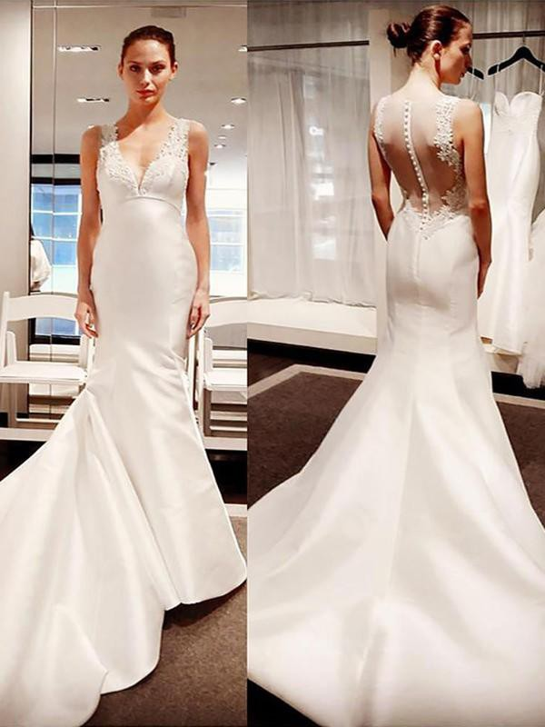 Trumpet/Mermaid V-neck Satin Court Train Sleeveless Wedding Dresses With Applique