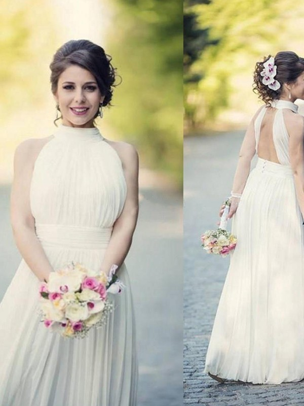 A-Line/Princess Halter Sleeveless Tulle Floor-Length Wedding Dresses With Ruffles