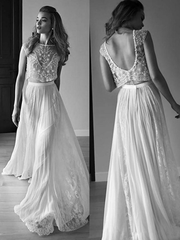 A-Line/Princess Scoop Sleeveless Tulle Sweep/Brush Train Wedding Dresses With Beading