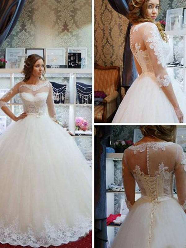 Ball Gown Scoop 1/2 Sleeves Floor-Length Tulle Wedding Dresses With Applique