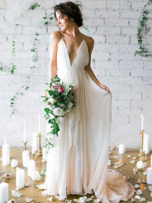 A-Line/Princess Spaghetti Straps Chiffon Sleeveless Sweep/Brush Train Wedding Dresses With Ruffles