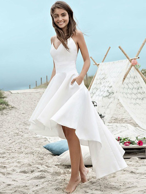 A-Line/Princess Spaghetti Straps Satin Sleeveless Asymmetrical Wedding Dresses With Ruched