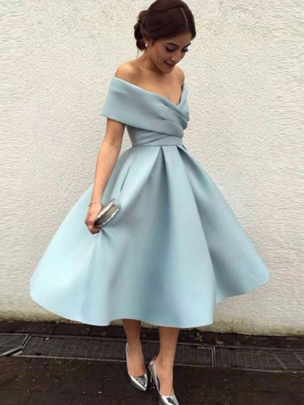 A-Line/Princess Off-the-Shoulder Satin Sleeveless Tea-Length Dresses With Ruffles