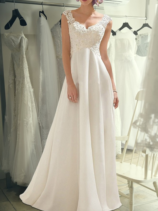 Floor-Length Empire V-neck Sleeveless Chiffon Wedding Dresses