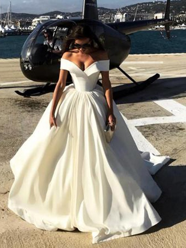 Sweep/Brush Train Ball Gown Off-the-Shoulder Sleeveless Satin Wedding Dresses