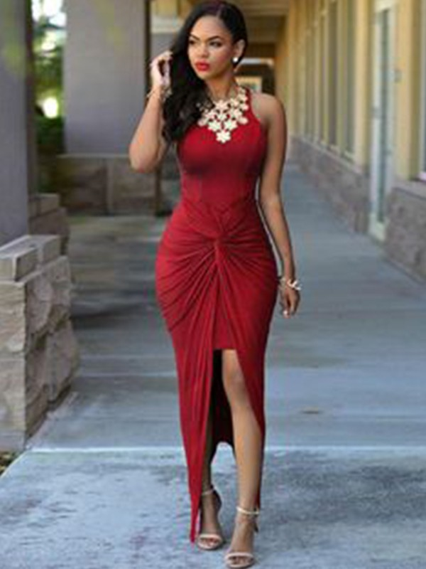 Sheath/Column Jewel Sleeveless Beading Asymmetrical Spandex Ankle-Length Dresses