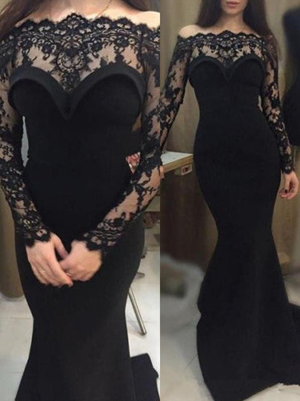 Trumpet/Mermaid Off-the-Shoulder Long Sleeves Sweep/Brush Train Lace Elastic Woven Satin Dresses