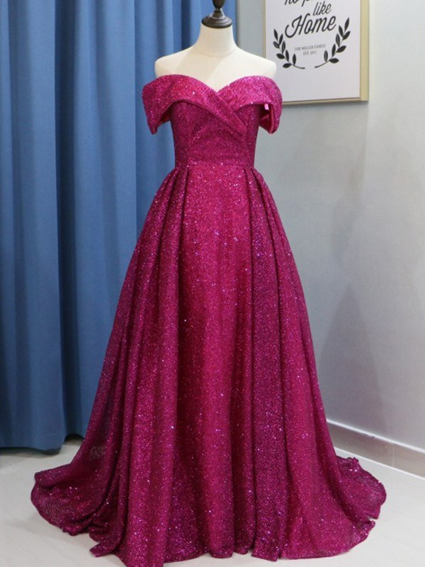 Ball Gown Off-the-Shoulder Sleeveless Sequins Sweep/Brush Train Ruffles Dresses