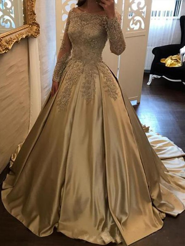 Ball Gown Off-the-Shoulder Long Sleeves Satin Sweep/Brush Train Applique Dresses