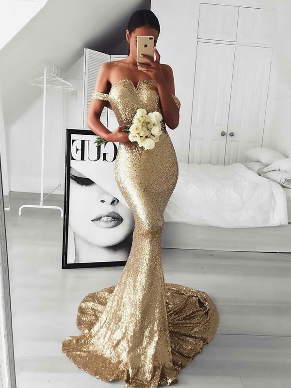 Trumpet/Mermaid Off-the-Shoulder Sleeveless Sweep/Brush Train Ruffles Sequins Dresses