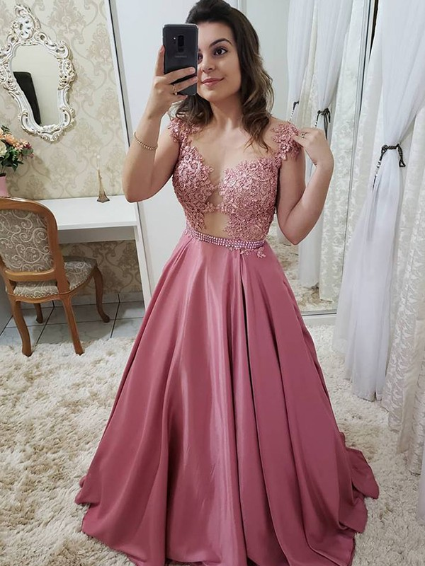 A-Line/Princess Scoop Sleeveless Applique Floor-Length Satin Dresses