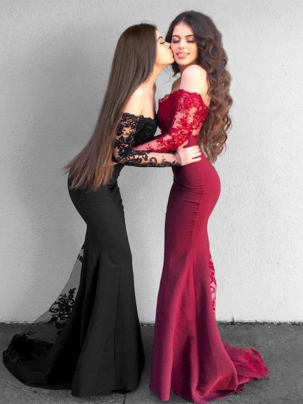 Trumpet/Mermaid Off-the-Shoulder Long Sleeves Applique Sweep/Brush Train Satin Dresses
